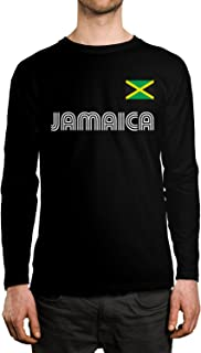 SpiritForged Apparel Jamaica Soccer Jersey Men's Long Sleeve Shirt