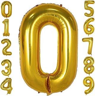 بالونات أرقام ذهبية 101.6 سم، بالونات هيليوم عيد ميلاد رقائق مايلر رقمية لأعياد الميلاد والخطوبة والزفاف والذكرى السنوية (0)