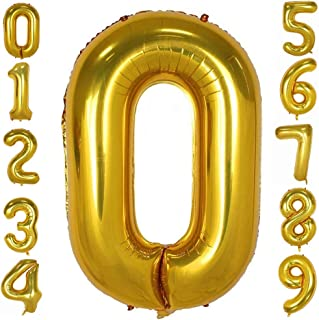 Gold Number Balloons 40inch Helium Birthday Balloons Foil Mylar Digital Balloons for Birthday Engagement Wedding Bridal Sh...