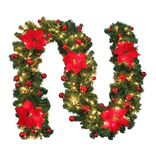 Weihnachtsgirlande Mit Beleuchtung Tannengirlande Künstliche Grüne Girlande Weihnachten Dekoration 2.7 Meter für Innen und Außen Verwendbar (Rot)
