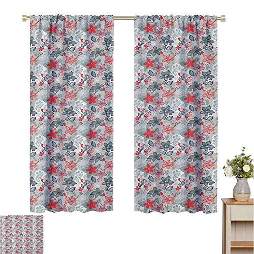 Wear Pole Curtains Curtains for Kitchen Tropical Blossoms Exotic Plants Pattern Doodle Style Abstract Petals Composition Multicolor Bedroom with Dark Curtain Set of 2 Panels W55 x L72