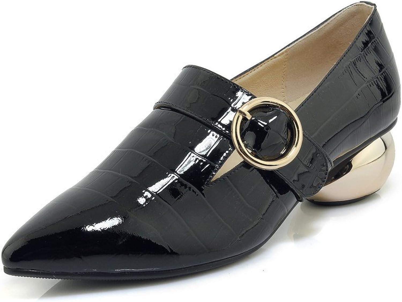 Nio Sju genuina läder Kvinnors spetsiga tå, låg Chunky Chunky Chunky Heel Slip på handgjorda bälten Detalj Söta pumpaskor  hitta din favorit här