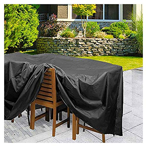 Housse de Protection for Salon de Jardin 420D Imperméable Patio Rotin Extérieur Housse de Meubles Set de Table Meubles Protecteur Barbecue Un Barbecue Chaises Table Housses Bâche Noir
