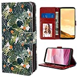 Wristlet Wallet Case Fits for Galaxy S8 Plus (2017) 6.2inch Hawaii Colorful Palm Trees Tropical Plants with Botanical Inspirations Fern Green Jade Green Orange for Girls Case