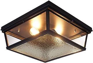 Yyqx مصابيح السقف مصابيح سوداء مربعة صناعية عتيقة الزجاج معدات إضاءة للمطبخ الجزيرة غرفة الطعام بهو غرفة نوم مصاص مصباح السقف