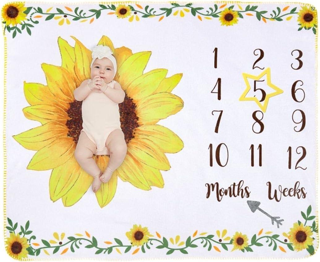 Manta Polar Bebe con Hito Mensual Fotografia Suave, Mantitas Bebe Recien Nacido, Manta Arrullo Bebe para Niña & Niño 120 * 100cm (Girasol Grande)