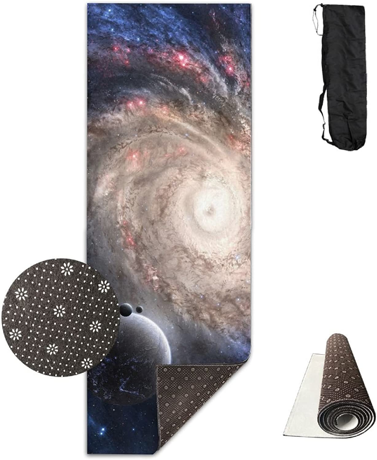 Non Slip Yoga Mat Space Galaxy Planet Premium Printed 24 X 71 inches Great for Exercise Pilates Gymnastics Carrying Strap