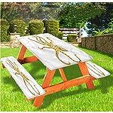 Octopus - Mantel ajustable para mesa de picnic y banco, color azul, con bordes elásticos, 70 x 72 cm, juego de 3 piezas para camping, comedor, exterior, parque, patio