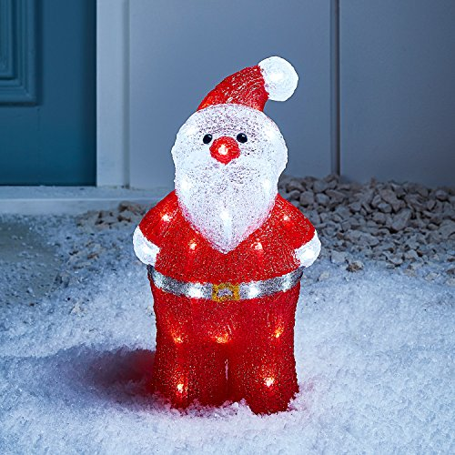 Lights4fun – Decorazione Natalizia Luminosa a Babbo Natale con LED Bianchi per Interni ed Esterni