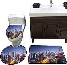 Moeeze-Home City Custom Toilet Seat Cover Nighttime at Dubai Vivid Display United Arab Emirates Tourist Attraction Travel Theme Toilet Bath Mats Rugs Multicolor