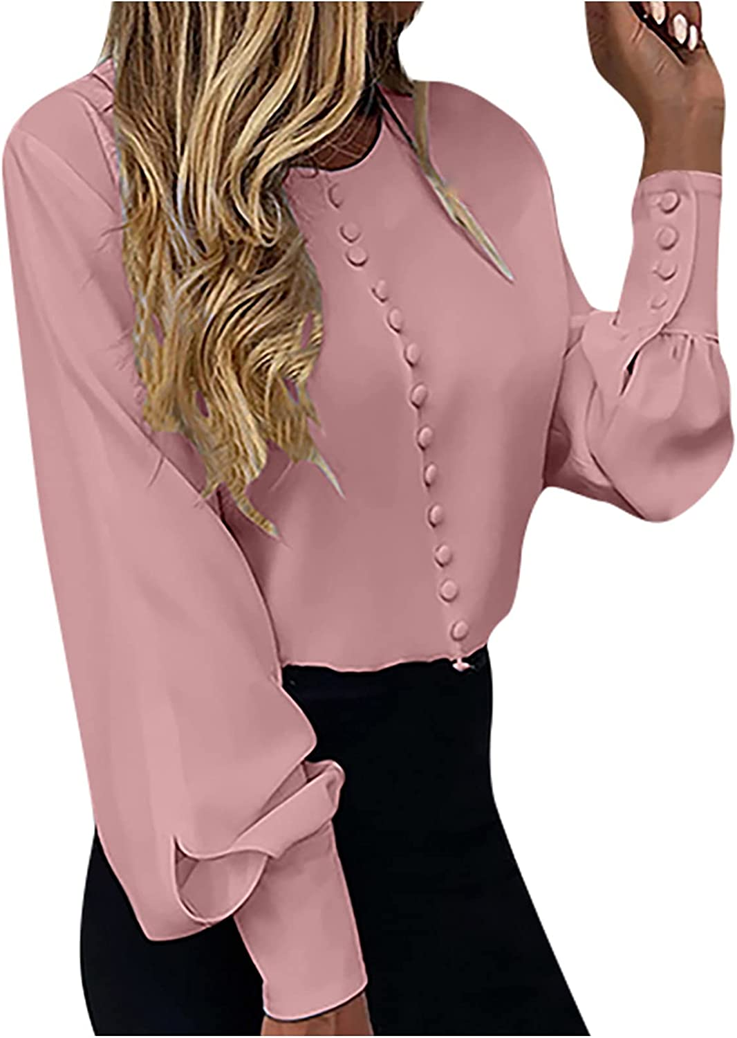 Tops for Women, Lantern Sleeve Casual T Shirts V Neck Button Down Soild Color Shirt Blouses