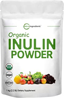 Organic Inulin FOS Powder (Jerusalem Artichoke), 2.2 Pounds (35 Ounce), Inulin for Baking, Prebiotic Intestinal Support, C...