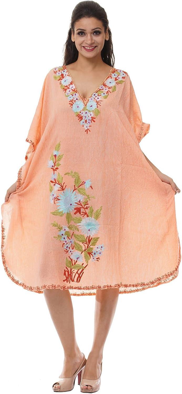 Odishabazaar Kashmiri Embroidered Womens Beachwear Cover up Swimsuit Swimwear Dress Caftan(uik-289)