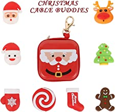 Christmas Charging Cable Protector- Santa Charger Cord Protector Cable Buddies - Animal Cord Saver for iPhone Android, 8pcs + 1pc Box