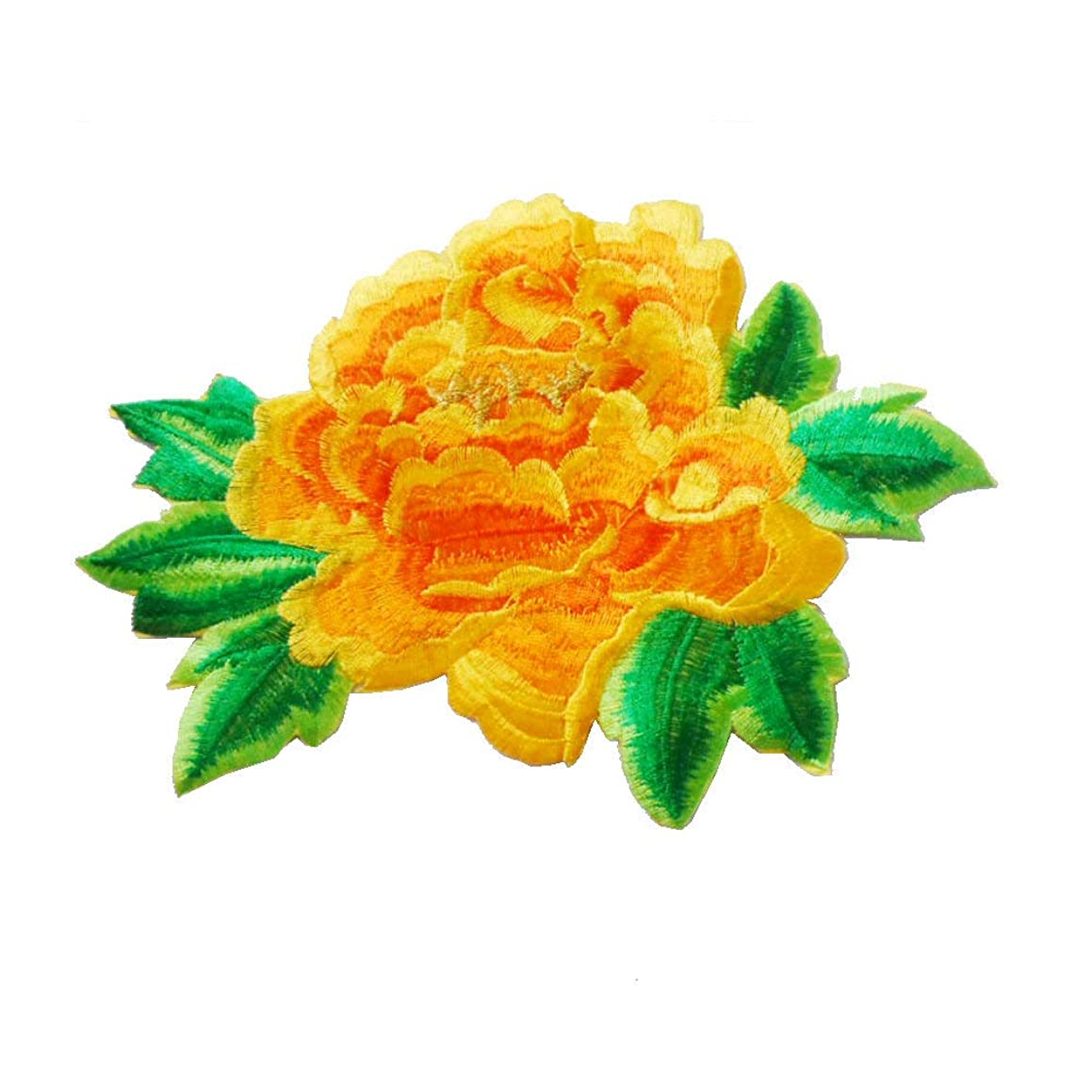 1pcs Embroidery Iron-on Patches Rose Flower Applique Sew On Sticker Trimming Sewing Accessories For DIY Craft(8.25.9inch) (Yellow)