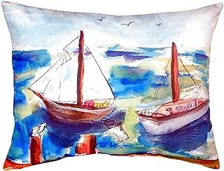 """Betsy Drake NC933 Two Sailboats No Cord Pillow,,16"""" X20"""""""