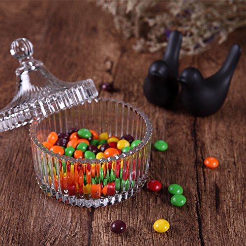 ComSaf Crystal Glass Covered Candy Dish with Lid Sugar Bowl Cookie Jar (Diameter 3.9 Inch)
