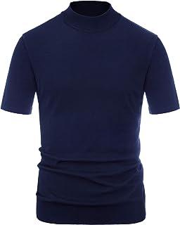 PJ PAUL JONES Men's Solid Knitting Pullover Sweater Short Sleeve Lightweight Mockneck Sweater