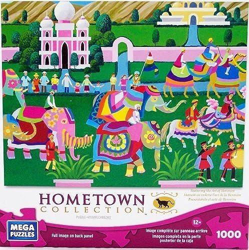 Mega Puzzles  Hometown Collection 1000 piece Elephant Festival Puzzle by Mega Brands