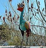 Trendshop-online Bunter exotischer Vogel Emu Reiher Paradiesvogel Teichfigur Garten 33 cm Metallvogel Skulptur Metallfigur Windlicht