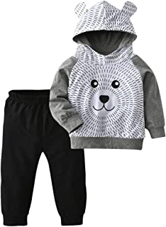 Toddler Baby Boys Cartoon Little Bear Long Sleeve Hoodie Tops Black Pants Outfit Clothes Set