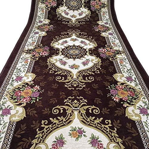 WUZMING-Läufer Teppiche Europäisches Jacquard-Muster rutschfest Waschbar Halle Gang Treppe Teppichboden (Color : Brown, Size : 90x300cm)