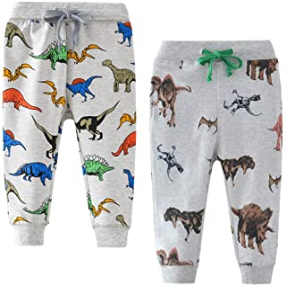 BINIDUCKLING - Pantalones de deporte para niños (algodón, elásticos, 2 unidades)