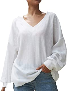 iHHAPY Ladies Knitted Pullover Long Sleeve Shirt V-Collar Sweater Shirts Knitwear Autumn Women Fashion Loose Sweater