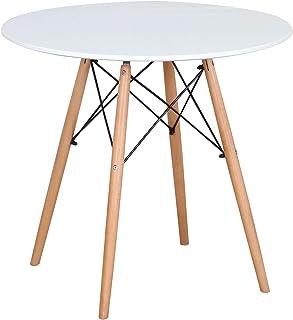 N / A Mesa - Mesa de Comedor Redonda Escandinava con Patas de Haya, 2-4 Personas 80 x 75 cm, para Oficina, Comedor, Sala de Estar (Blanco)