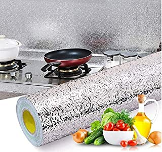 MUSTYSP Kitchen Backsplash Stickers Wallpaper, Kitchen Stickers Self Adhesive Kitchen Aluminum Foil Stickers Oil Proof Wat...