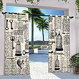 Cortinas para decoración de periódico, diseño de grunge con jaulas de pájaros, formas de corazón y flores, adecuadas para pabellones de terraza al aire libre, 108 x 72 pulgadas, color negro crema azul