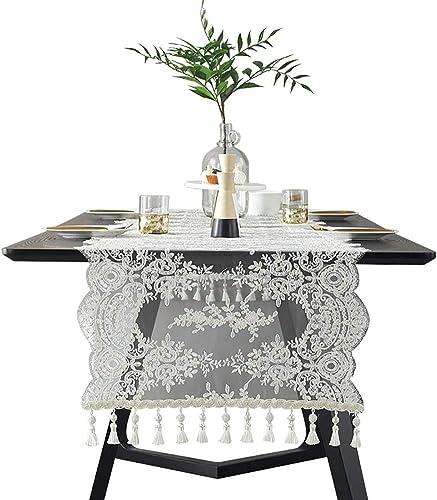 Chemins de table Chemin de table classique de dentelle de broderie, fleur décoratif creux de coureur de table de salle à hommeger de mariage décoratif (taille   54X310cm)