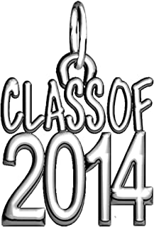 Small Class of 2014 Graduation Charm, 11mm, Sterling Silver