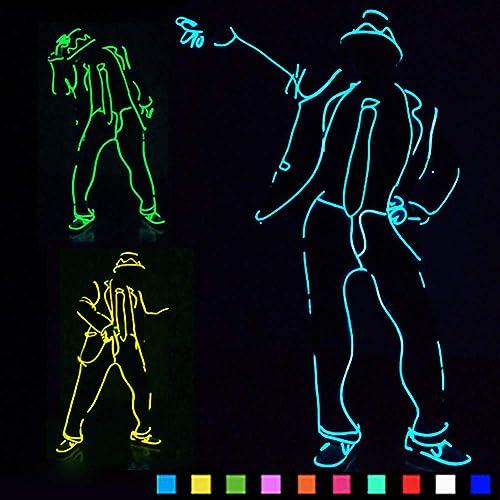 DHTW&R Glühende Kleidung MJ Jazz Nachtshow Fluoreszierender Tanz Kostüm EL Kaltlicht Batteriebetrieben Beleuchtet Strichm chen Mann Kostümparty Partybedarf