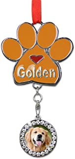 BANBERRY DESIGNS Golden Retriever/Doodle Christmas Ornament - I Love My Golden Pawprint with a Photo Charm - Dog Christmas Ornament