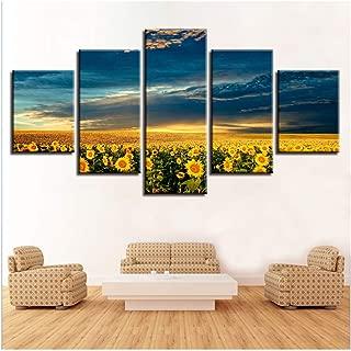CHENSHU Art - Cuadro de 5 Piezas con diseño Moderno de Girasoles y Flores Marinas para decoración del hogar, 30 x 40 cm x 2 30 x 60 cm x 2 30 x 80 cm, sin Marco