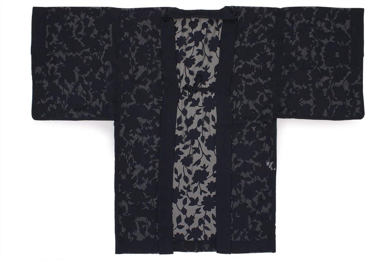 (ソウビエン) 長羽織 トリエ 紺 ネイビー 花唐草 レース 単衣 カジュアル 洗える 女性用 レディース 日本製 フリーサイズ