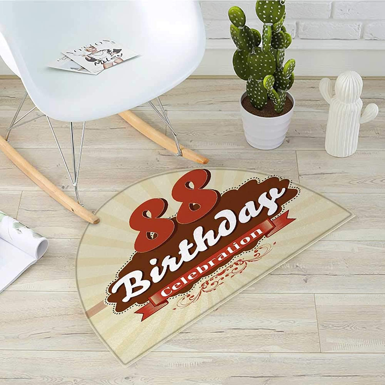 88th Birthday Semicircular CushionVintage Anniversary Cloud Classic Effects Illustration Artwork Print Entry Door Mat H 35.4  xD 53.1  Chestnut Brown Tan