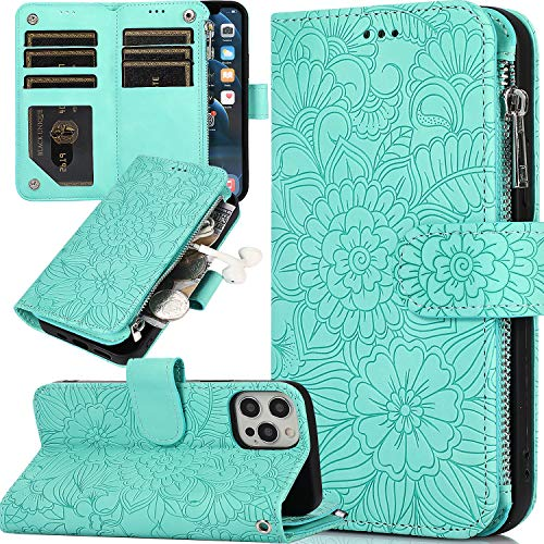 iPhone 12 Case Wallet,iPhone 12 Pro Flip Case for Women,Casmyd Luxury Folio Embossed Flower Pu Leather Zipper Pocket Wallet Case with 6 Card Holder Shockproof Protective Wristlet Purse Cover-Mint