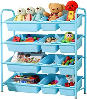ZzheHou Children s toy storage rack Easy Assemble And Clean Children s Toy Storage Layer Toy Rack With Plastic Boxes For kindergarten playroom  Color Blue  Size 95cm