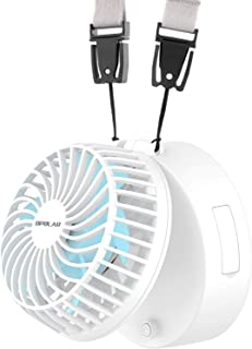 OPOLAR Battery Operated Necklace Fan, Rechargeable Personal Fan with 2200mAh Battery and 3 Setting, 5-16H Working Hours, 180° Rotating Free Adjustment for Camping/Outdoors/Travel/Office (White)