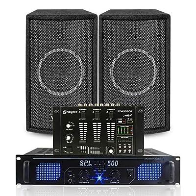 Vonyx 2x 6 DJ Disco Party Speakers 6 Chan Mixer & Amplifier PA System Karaoke 300W