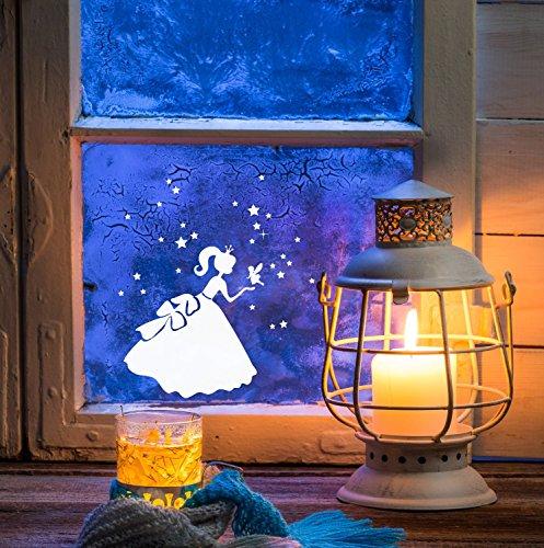 ilka parey wandtattoo-welt® Fensterbild Weihnachten selbstklebend Fensterdeko Weihnachtsdeko Sterne Prinzessin weiß M1233