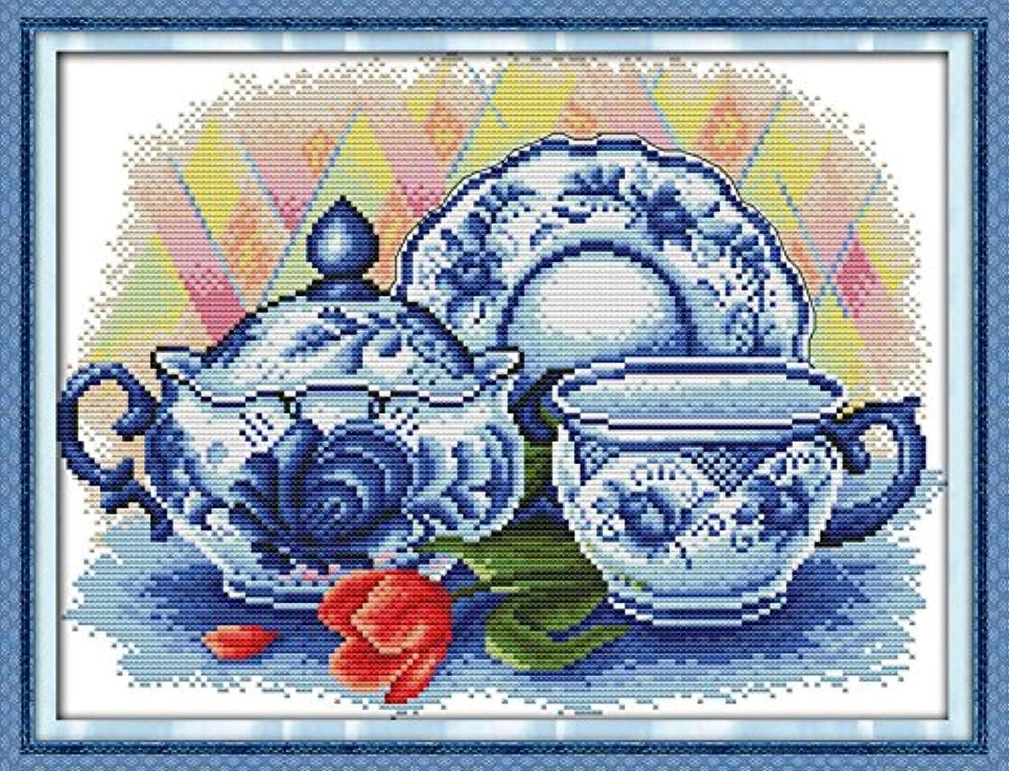Joy Sunday Cross Stitch Kit 14CT Stamped Embroidery Kits Precise Printed Needlework- The celadon teapot 36×29CM