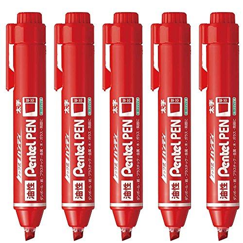 ぺんてる 油性ペン ノック式ハンディS Pentel PEN 平芯・太字 赤 XNXN60-B 5本