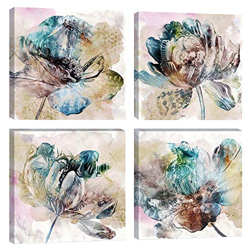 DAVOD Flower Canvas Wall Art For Bedroom Home Decorations Kitchen Simple Life Floral Pictures Living Room Watercolor Paintings Bathroom Wall Decor Office Framed Artwork Prints Set 4 Piece 12x12