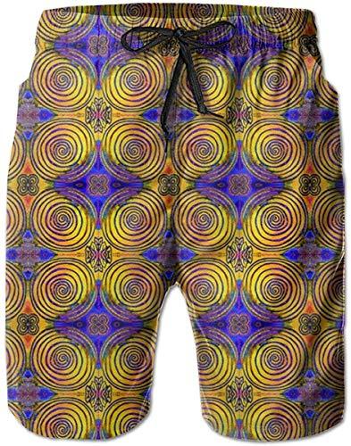 Diydeen Celtic Pixel Tree Ring Mandala_2700 Men's Board Shorts Swim Trunks Surf Beach Holiday Party Swim Shorts Beach Pants XL