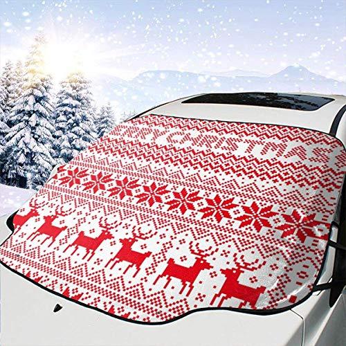JONINOT Rojo Navidad Bohe Parabrisas de Coche Nieve Hielo Frost Cubierta Protector de Parasol Anit UV Universal Fit Most Car Truck SUV