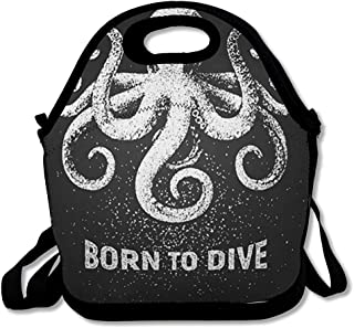 Insulated Lunch Bag for Women Men Giant Chalkboard Octopus Born Dive Chalk Drawing Aquatic On Nature Engraving Seafood Black Food Reusable Girls Lunch Tote for Office School and Picnic