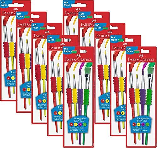 Faber-Castell 481600 Pinselset 4-teilig mit Softgriffstück (4 Pinsel, Nur Pinselset, 10)